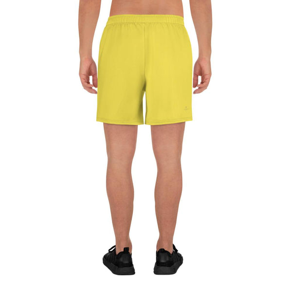 Bright Yellow Solid Color Premium Quality Men's Athletic Long Shorts- Made in Europe-Men's Long Shorts-Heidi Kimura Art LLC