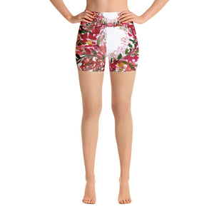 Red Floral Print Women's Yoga Shorts, Premium Short Workout Tights Pants, Made in USA/EU-Yoga Shorts-XS-Heidi Kimura Art LLC
