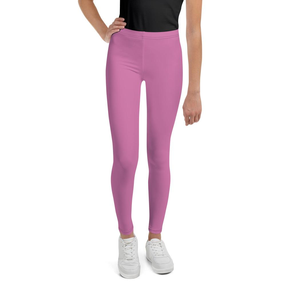 Pink Solid Color Premium Youth Leggings Sports Compression Tights -Made in USA/EU-Youth's Leggings-8-Heidi Kimura Art LLC