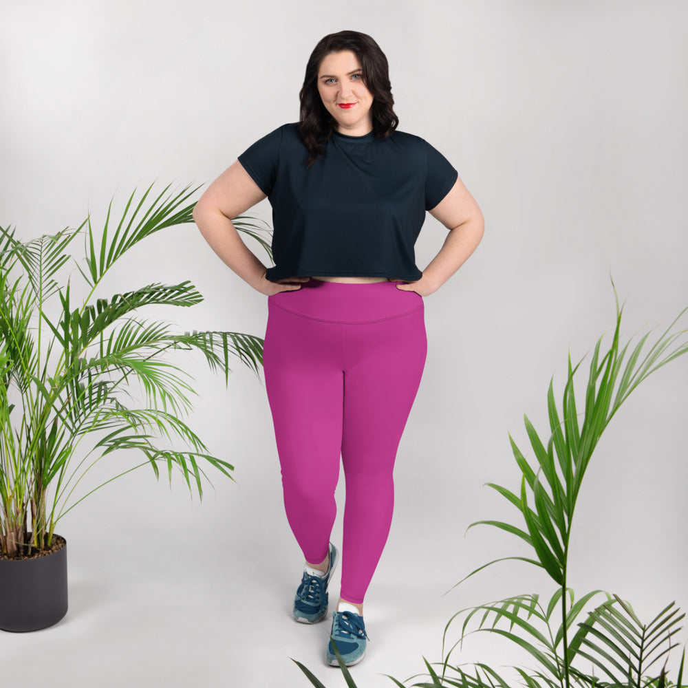 Gum Hot Solid Pink Premium Women's Plus Size Leggings Yoga Pants -Made in USA/EU-Women's Plus Size Leggings-2XL-Heidi Kimura Art LLC