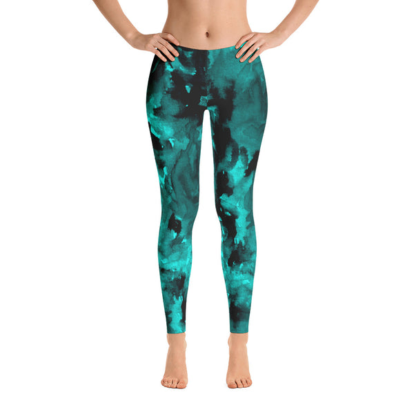 Agano Blue Rose Floral Women's Long Casual Leggings/ Running Tights - Made in USA (XS-XL)
