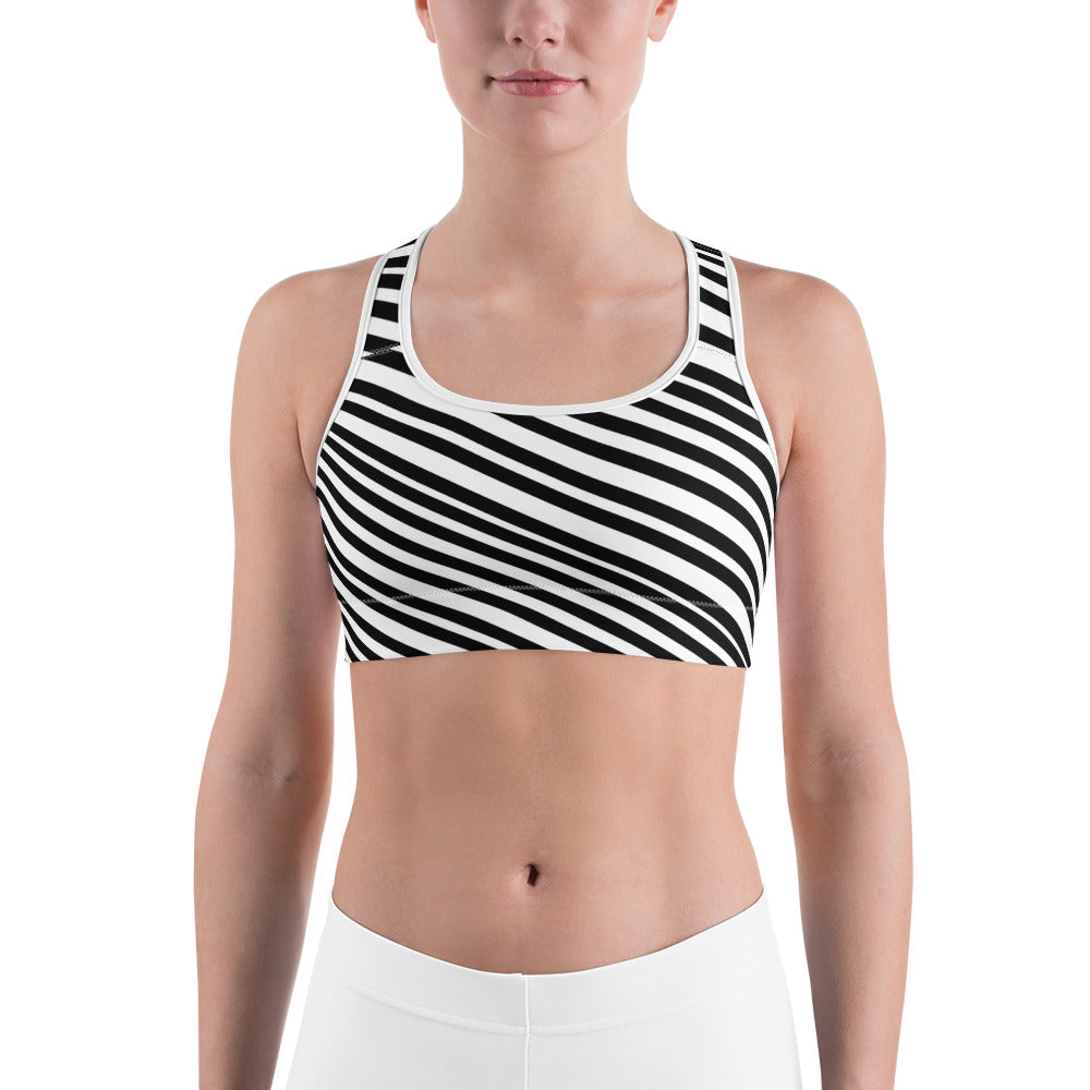 Chic White Black Diagonal Stripe Print Women's Fitness Bra - Made in USA-Sports Bras-White-XS-Heidi Kimura Art LLC