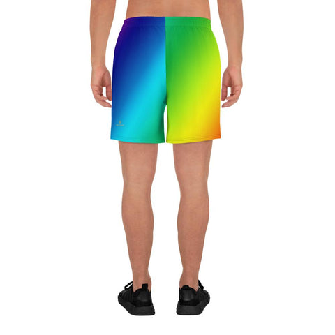 Rainbow Diagonal Ombre Print Men's Athletic Best Workout Long Shorts- Made in EU-Men's Long Shorts-Heidi Kimura Art LLC