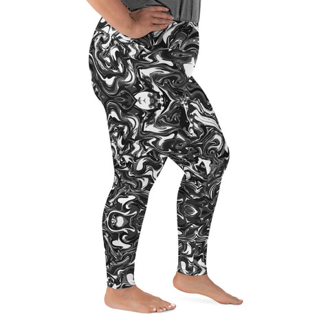 Black Marbled Plus Size Leggings, Marble Print Women's Yoga Pants-Made in USA/EU-Heidi Kimura Art LLC-Heidi Kimura Art LLC Black Marbled Plus Size Leggings, Abstract Marble Print Women's Leggings Plus Size, Women's Yoga Pants Long Plus Size Leggings - Made in USA/EU (US Size: 2XL-6XL)