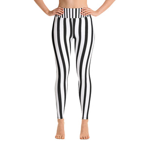 Black And White Striped Yoga Leggings, Long Yoga Pants Gym Tights - Made in USA/EU-Leggings-XS-Heidi Kimura Art LLC Black White Striped Yoga Leggings, Black And White Striped Women's Long Yoga Leggings, Long Yoga Pants, Gym Fitness Tights - Made in USA/EU (US Size: XS-XL) Black And White Striped Leggings, Vertical Striped Leggings, Black and White Leggings, Black White Leggings, Black And White Striped Leggings Outfit, White Leggings, Black Lettings, Black And White Striped Workout Leggings