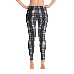 Black Plaid Print Women's Long Dressy Casual Leggings/ Running Tights-Made in USA/EU-Casual Leggings-XS-Heidi Kimura Art LLC