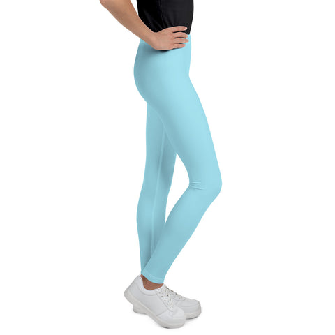 Light Pastel Blue Solid Color Premium Youth Leggings Workout Tights - Made in USA/EU-Youth's Leggings-Heidi Kimura Art LLC
