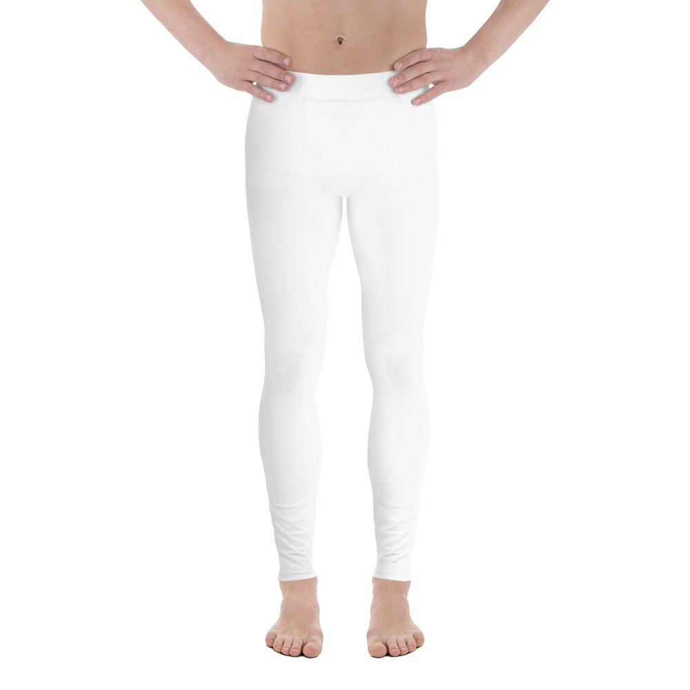 Minimalist Solid Titanium White Color Print Premium Quality Men's Running Leggings & Run Tights- Made in USA/ Europe (US Size: XS-3XL)