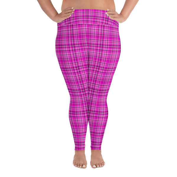Pink Tartan Scottish Plaid Print Women's Long Yoga Pants Plus Size Leggings-Women's Plus Size Leggings-2XL-Heidi Kimura Art LLC