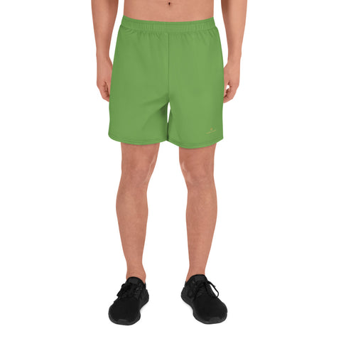 Green Men's Athletic Long Workout Shorts, Solid Color Print Premium Shorts -Made in EU-Men's Long Shorts-XS-Heidi Kimura Art LLC