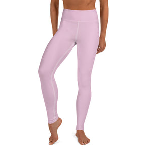 Light Bubble Pink Solid Color Print Women's Long Yoga Leggings Pants- Made in USA/ EU-Leggings-XS-Heidi Kimura Art LLC Light Pink Women's Leggings, Women's Light Bubble Pink Solid Color Yoga Gym Workout Tights, Long Yoga Pants Leggings Pants, Plus Size, Soft Tights - Made in USA/ EU, Women's Light Pink Solid Color Active Wear Fitted Leggings Sports Long Yoga & Barre Pants (US Size: XS-XL)