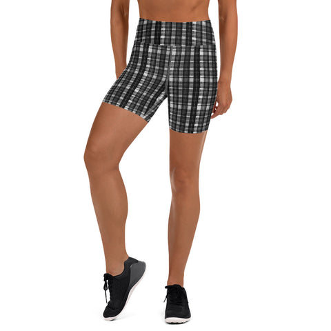 White Black Plaid Yoga Shorts, Tartan Scottish Women's Short Tights-Made in USA/EU-Heidi Kimura Art LLC-XS-Heidi Kimura Art LLC White Black Plaid Print Shorts, Classic Best Scottish Tartan Print Women's Elastic Stretchy Shorts Short Tights -Made in USA/EU (US Size: XS-3XL) Plus Size Available, Tight Pants, Pants and Tights, Womens Shorts, Short Yoga Pants