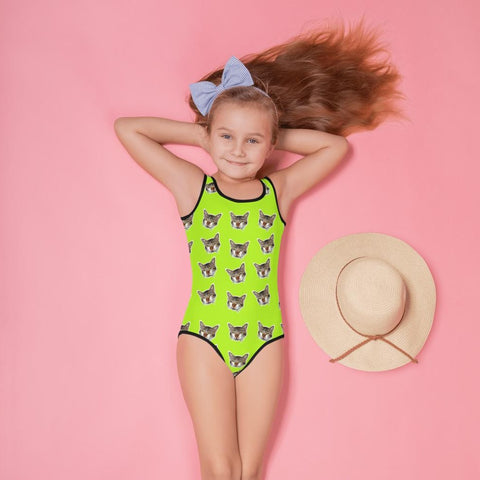 Green Cat Print Girl's Swimsuit, Cute Kids Swimwear- Made in USA/EU (US Size: 2T-7) Girl's Cute Premium Kids Swimsuit Bathing Suit, Cat Swimsuit, Cute Cat Girls Swimsuit