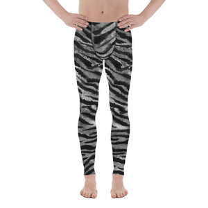 Gray Tiger Stripe Print Meggings, Animal Print Men's Leggings Run Tights- Made in USA/EU-Men's Leggings-XS-Heidi Kimura Art LLC