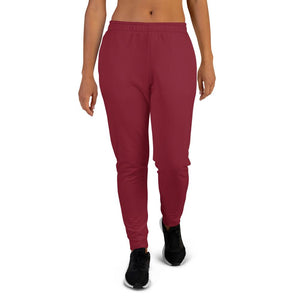 Burgundy Red Solid Color Premium Women's Joggers Slim Fit Sweatpants - Made in EU-Women's Joggers-XS-Heidi Kimura Art LLC