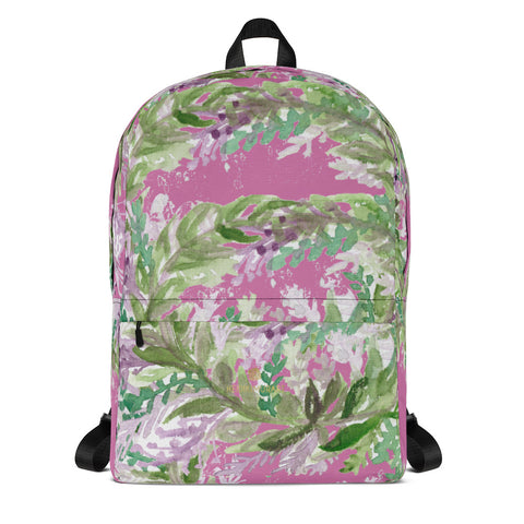 "Pink Lavender Floral Print Women's Laptop Designer Backpack- Made in USA/EU--Heidi Kimura Art LLC Pink Lavender Backpack, Best Floral Print Designer Medium Size (Fits 15"" Laptop) Water Resistant College Unisex Backpack for Travel/ School/ Work - Made in USA/ Europe"