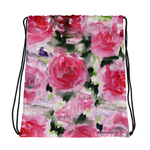 "Pink Princess Rose Floral Print 15""x17"" Designer Best Drawstring Bag - Made in USA/ Europe-Drawstring Bag-Heidi Kimura Art LLC"