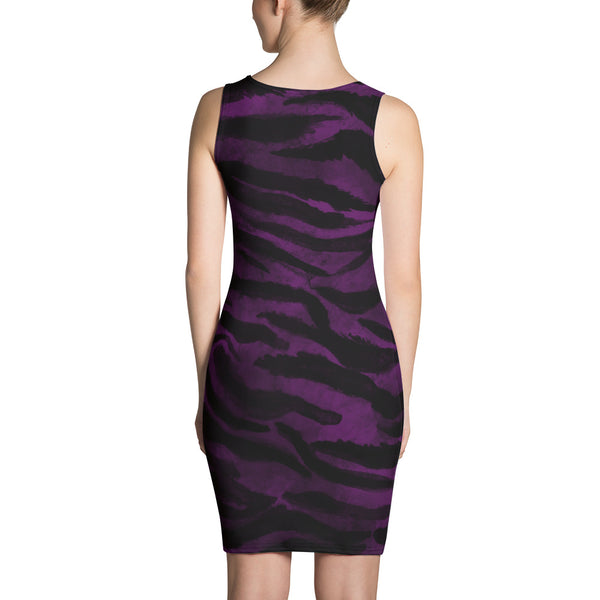 Tiger Striped Animal Print Women's Sleeveless Royal Purple Tank Dress - Made in USA/EU-Women's Sleeveless Dress-Heidi Kimura Art LLC