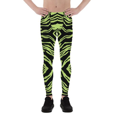 Green Striped Men's Leggings, Zebra Animal Print Meggings-Made in USA/EU-Heidi Kimura Art LLC-Heidi Kimura Art LLC Green Tiger Stripe Men's Leggings, Wild Tiger Animal Print Sexy Meggings Men's Workout Gym Tights Leggings, Men's Compression Tights Pants - Made in USA/ EU (US Size: XS-3XL)