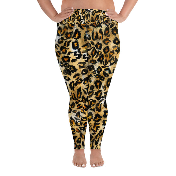 Leopard Print Plus Size Leggings, Women's Animal Print Long Yoga Pants-Made in USA/EU-Women's Plus Size Leggings-2XL-Heidi Kimura Art LLC