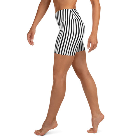 Modern Black White Stripes Print Women's Elastic Fitness Yoga Shorts- Made in USA/EU-Yoga Shorts-Heidi Kimura Art LLC