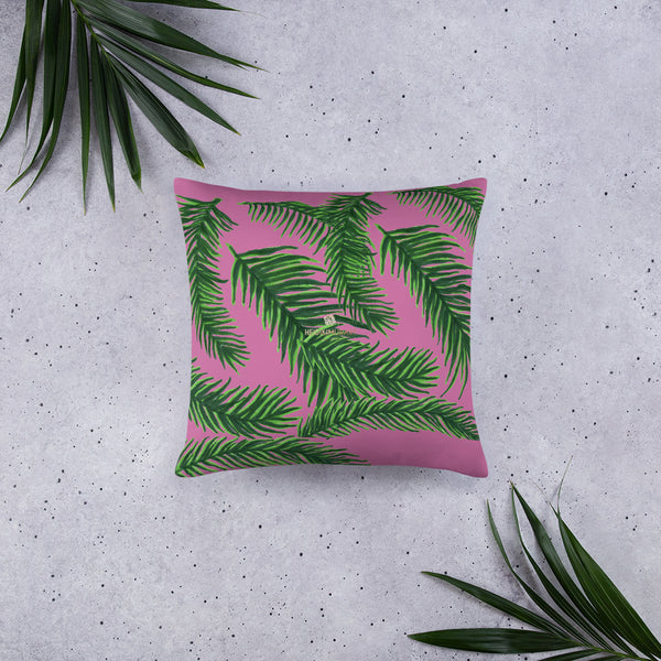 "Pink Green Tropical Palm Leaf Designer 20""x12"", 18""x18"" Basic Pillow-Made in USA-Pillow-20×12-Heidi Kimura Art LLC"