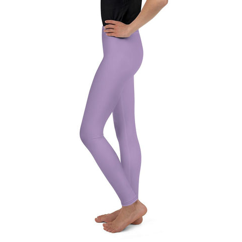 Lavender Purple Solid Color Youth Gym Sports Comfy Tights Leggings- Made in USA/EU-Youth's Leggings-Heidi Kimura Art LLC