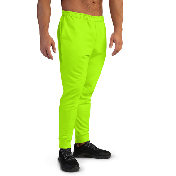 Neon Green Bright Solid Color Premium Men's Joggers Sweatpants - Made in EU-Men's Joggers-Heidi Kimura Art LLC