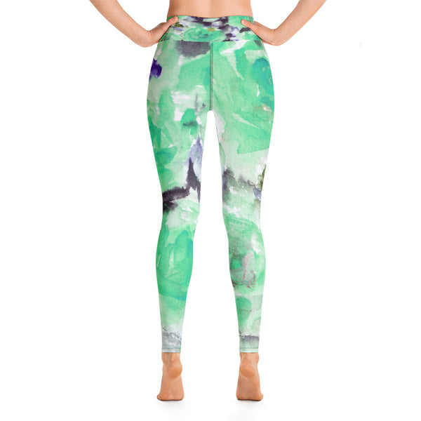Blue Abstract Rose Floral Ocean Print Yoga Leggings/ Long Yoga Pants - Made in USA-Leggings-Heidi Kimura Art LLC Blue Floral Women's Leggings, Blue Abstract Rose Floral Ocean Print Women's Yoga Leggings/ Long Yoga Pants - Made in USA/EU (US Size: XS-XL)