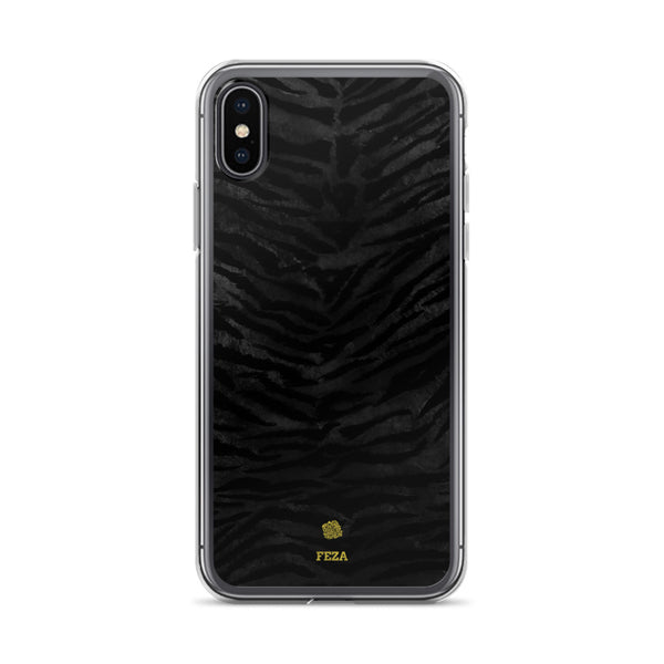 Black Tiger Striped Animal Print Pattern Custom Name iPhone Case, Made in USA/ Europe-Phone Case-iPhone X/XS-Heidi Kimura Art LLC