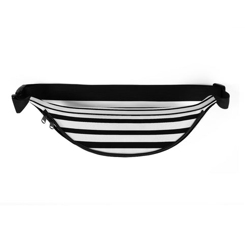 Black White Modern Horizontal Stripe Print Designer Fanny Pack Bag- Made in USA/EU-Fanny Pack-Heidi Kimura Art LLC