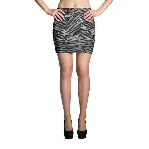 Grey Tiger Striped Mini Skirt, Animal Print Stretchy Women's Mini Skirt-Made in USA/ EU-Skirts-XS-Heidi Kimura Art LLC