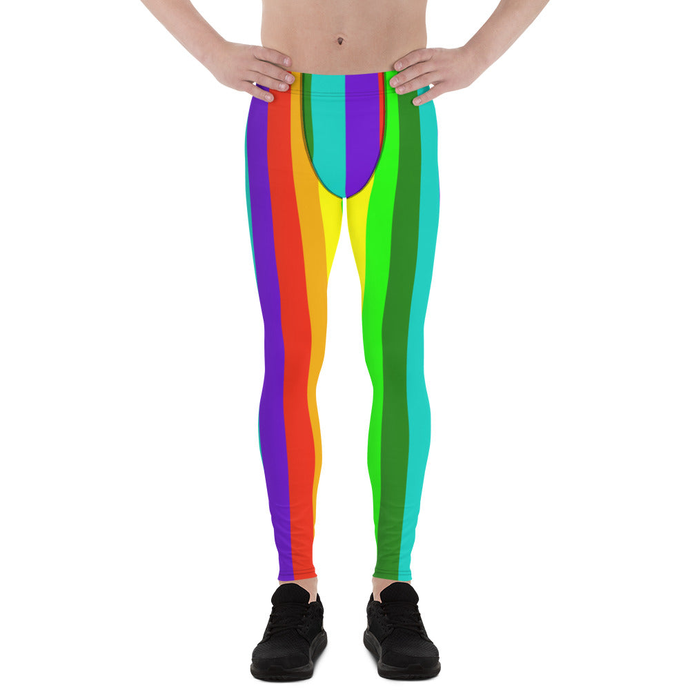 Rainbow Lover Men's Running Leggings & Run Tights Meggings Pants - Made in USA/EU-Men's Leggings-XS-Heidi Kimura Art LLC