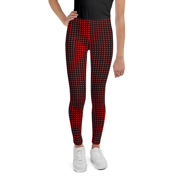 Red Buffalo Plaid Tartan Print Designer Unisex/ Girls Youth Leggings- Made in USA/ EU-Youth's Leggings-8-Heidi Kimura Art LLC