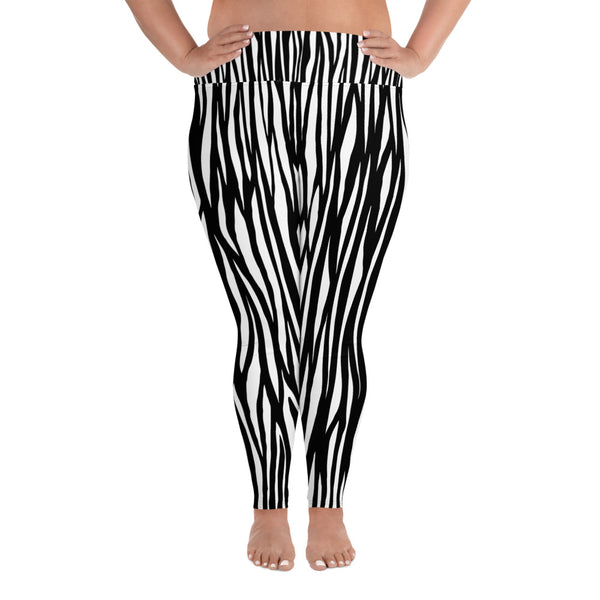 Zebra Animal Print Women's Long Yoga Pants 4-Way Stretch Plus Size Leggings-Women's Plus Size Leggings-2XL-Heidi Kimura Art LLC Zebra Plus Size Leggings, Zebra Animal Print Women's Long Yoga Pants High Waist 4-Way Stretch Plus Size Leggings - Made in USA/EU (US Size: 2XL-6XL)
