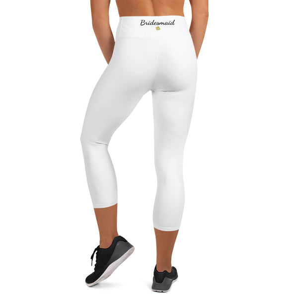 Solid White Premium Bridesmaid Designer Yoga Capri Leggings-Made in USA-Capri Yoga Pants-Heidi Kimura Art LLC