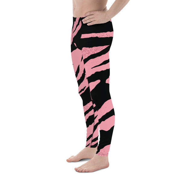 a8347dab09c04 Kaito Pink Black Zebra Striped Animal Print Men's Workout Gym Sexy Leggings  Tights-Made in USA (US Size: XS-3XL)