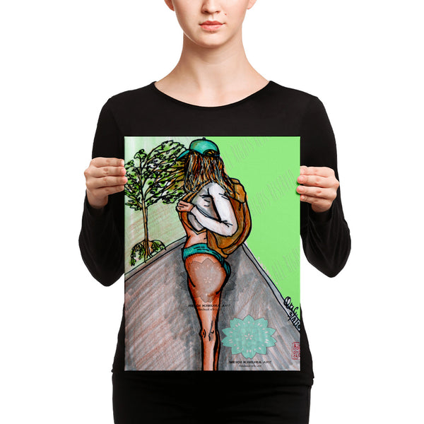 Fitness Girl Hiking in the Woods Fitness Canvas Art Print - Made in USA - Heidi Kimura Art LLC