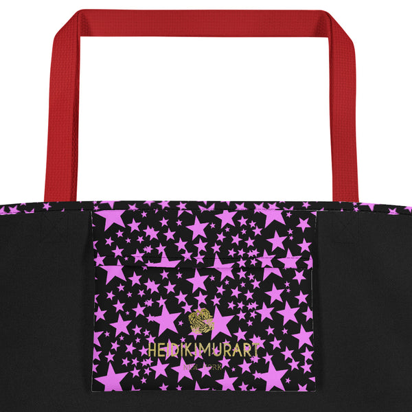 "Black Pink Star Pattern Print Designer Large 16""x20"" Beach Shopping Bag- Made in USA/EU-Beach Tote Bag-Heidi Kimura Art LLC"