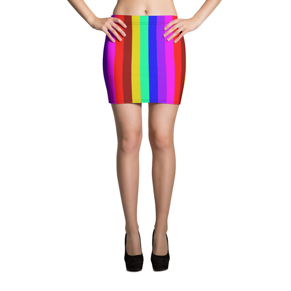 Rainbow Striped Women's Mini Skirt, Gay Pride Festival Print Mini Skirt-Made in USA/EU-Mini Skirt-XS-Heidi Kimura Art LLC