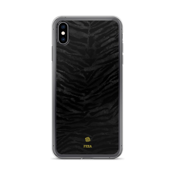 Black Tiger Striped Animal Print Pattern Custom Name iPhone Case, Made in USA/ Europe-Phone Case-iPhone XS Max-Heidi Kimura Art LLC