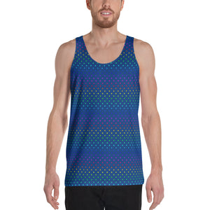 Navy Blue Polka Dots Rainbow Gay Pride Men's Premium Unisex Tank Top- Made in USA-Men's Tank Top-XS-Heidi Kimura Art LLC