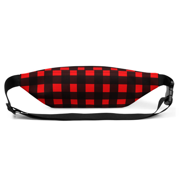 Red Buffalo Plaid Print Canadian Style Belt Bag Fanny Pack Belt Waist Bag- Made in USA-Fanny Pack-Heidi Kimura Art LLC
