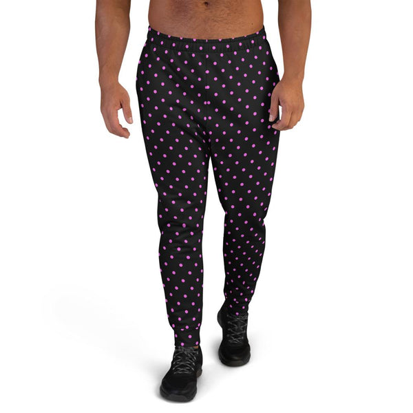 Black Pink Polka Dots Men's Joggers, Dots Print Men's Luxury Sweatpants- Made in EU-Men's Joggers-XS-Heidi Kimura Art LLC