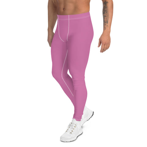 Cute Pink Men's Leggings, Modern Pastel Solid Color Basic Essential Men's Leggings Tights Pants - Made in USA/EU (US Size: XS-3XL)Sexy Meggings Men's Workout Gym Tights Leggings