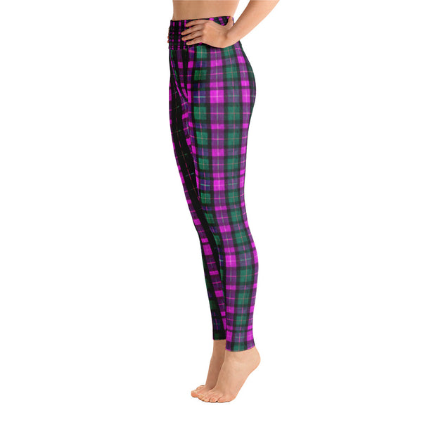 Women's Pink Plaid Active Wear Fitted Leggings Sports Long Yoga Pants - Made in USA (S-XL)-Leggings-Heidi Kimura Art LLC Pink Plaid Women's Leggings, Women's Pink Plaid Active Wear Fitted Leggings Sports Long Yoga Pants - Made in USA/EU (US Size: S-XL)
