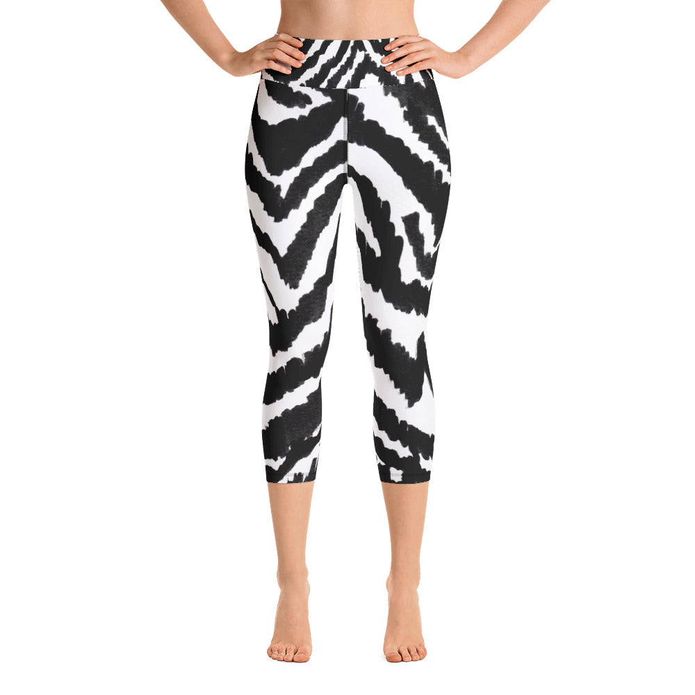 White Black Zebra Stripe Animal Print Women's Yoga Capri Leggings- Made in USA (XS-XL)-Capri Yoga Pants-XS-Heidi Kimura Art LLC