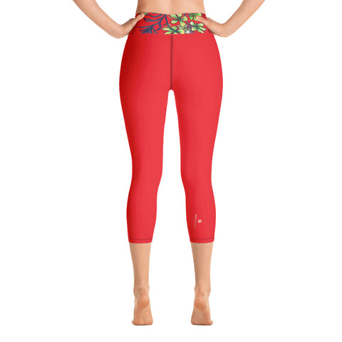 Bright Red Yoga Capri Leggings, Women's Floral Print Capris Tights-Made in USA/EU-Heidi Kimura Art LLC-Heidi Kimura Art LLC Bright Red Yoga Capri Leggings, Orchids Floral Print Women's Yoga Capri Leggings Pants High Performance Tights- Made in USA/EU (US Size: XS-XL)
