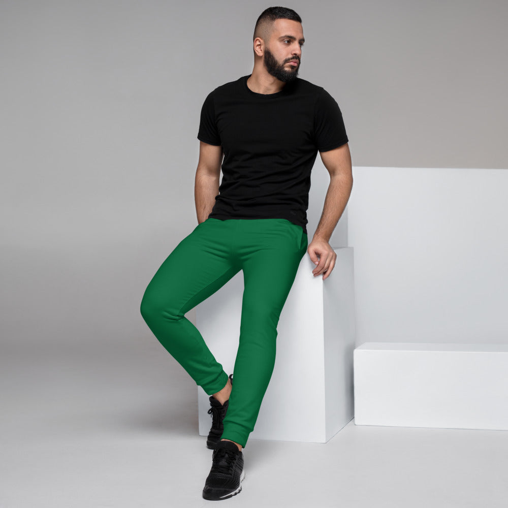 Dark Green Men's Joggers, Emerald Green Sweatpants For Men-Made in EU/MX-Heidikimurart Limited -XS-Heidi Kimura Art LLC Dark Green Designer Men's Joggers, Best Emerald Green Solid Color Sweatpants For Men, Modern Slim-Fit Designer Ultra Soft & Comfortable Men's Joggers, Men's Jogger Pants-Made in EU/MX (US Size: XS-3XL)