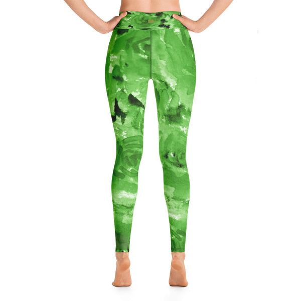 Lime Green Abstract Rose Floral Print Women's Yoga Leggings- Made in USA-Leggings-Heidi Kimura Art LLC Green Floral Rose Women's Leggings, Lime Green Abstract Rose Floral Ocean Print Women's Yoga Leggings/ Long Yoga Pants - Made in USA/EU (US Size: XS-XL)
